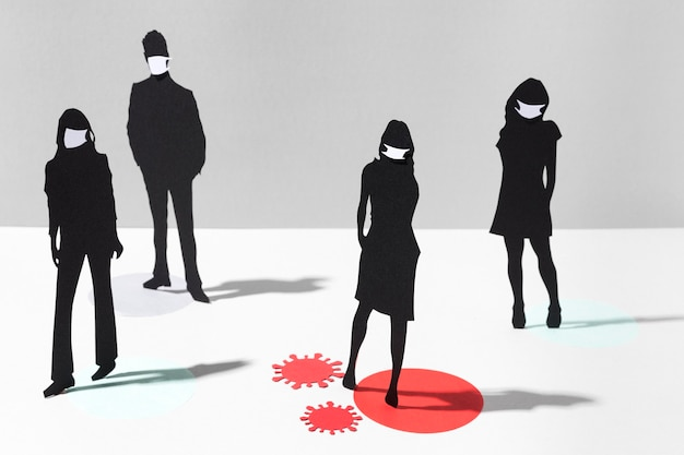 Menschen mit medizinischen masken zur vorbeugung von coronaviren