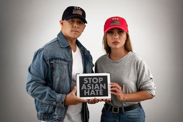 Menschen mit mittlerem schuss stoppen asiatischen hass