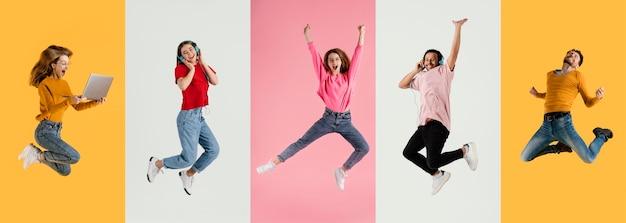 Menschen springen sammlung collage