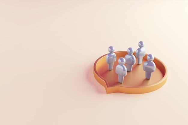 Menschen stehen in einer sprechblasenform. teilnahme am diskussionsdialog.