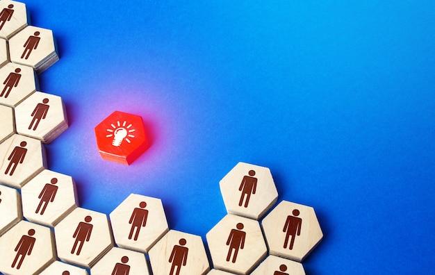 Menschen strukturieren gruppierung um idee. eine kollektive nationale idee, die nach integrität strebt