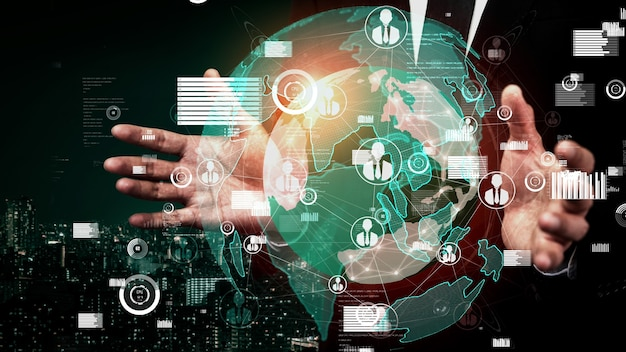 Menschennetzwerk und globale kommunikation konzeptionell