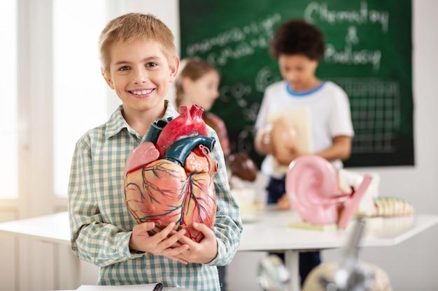 Menschliche anatomie. positiver netter junge, der zu ihnen lächelt, während sie ein herzmodell halten