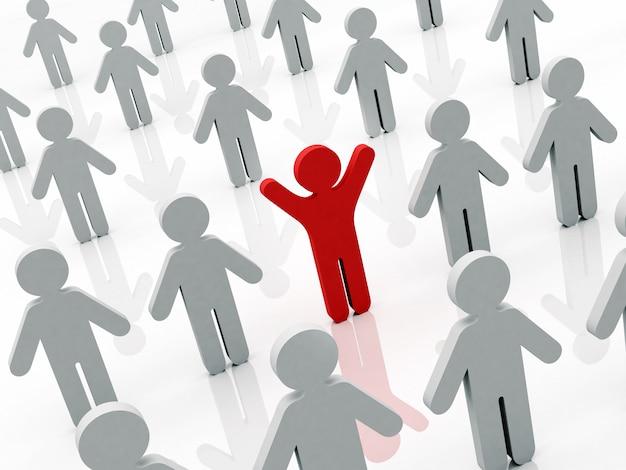 Menschliche begrifflichfigur des roten mannes, die mit den händen oben in der menge auf grauen personen steht