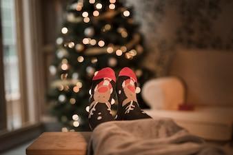 Menschliche Beine in lustigen Socken in der Nähe von Weihnachtsbaum