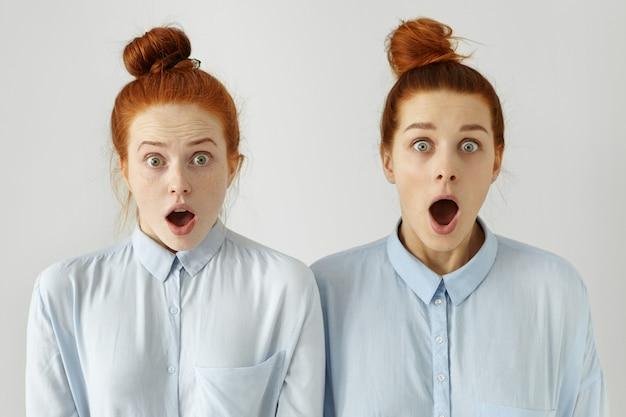 Menschliche gefühle. zwei wunderschöne ingwermädchen, die identische blaue hemden und frisuren tragen, die erstaunt mit weit geöffnetem mund und heruntergefallenen kiefern aussehen, überrascht von schockierenden neuigkeiten