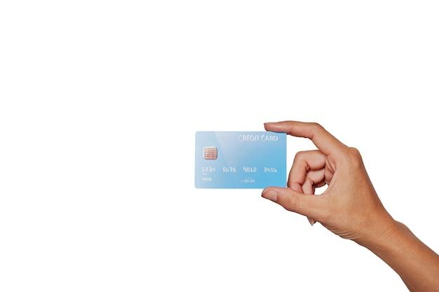 Menschliche hand, die bankkreditkarte hält