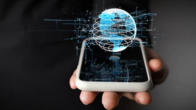 Menschliche hand, die handy mit holographischer technologie der erdkugel hält