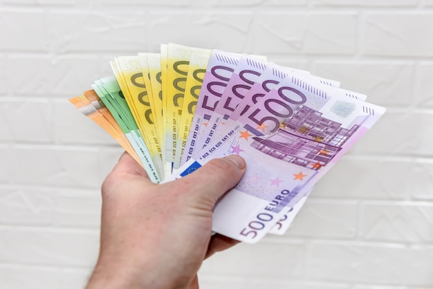 Menschliche hand mit euro-banknoten schließen