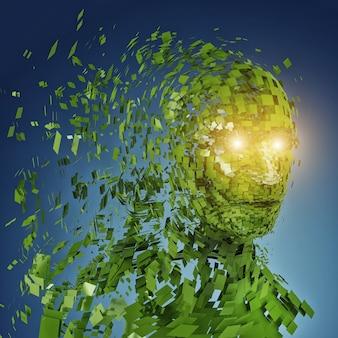 Menschliche kopfsilhouette mit vielen grünen teilen und funkelnden augen
