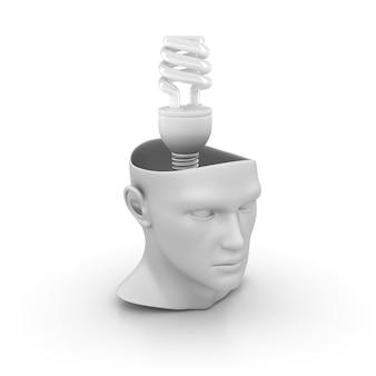 Menschlicher 3d-karikaturkopf mit energieeffizienz-glühbirne