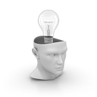 Menschlicher 3d-karikaturkopf mit glühbirne