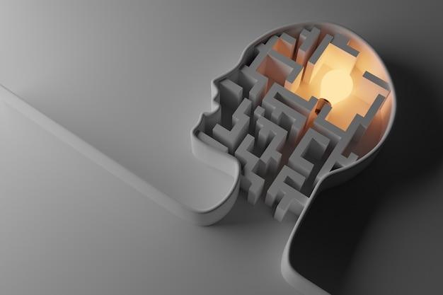 Menschlicher kopf mit glühbirne. kreativ-, ideen- und vorstellungskonzept, 3d-darstellung