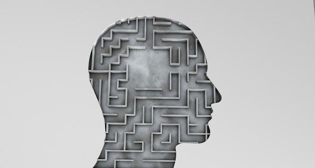 Menschlicher kopf und in einem labyrinth mit einem leeren bereich. 3d rendern.