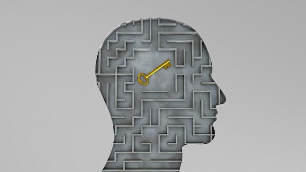 Menschlicher kopf und schlüssel innen. das konzept, die richtige lösung für das problem zu finden. 3d rendern.