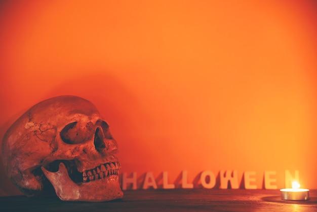Menschlicher schädel in halloween-konzept, weinlesefilterbild