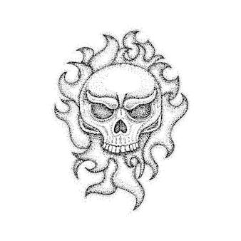 Menschlicher schädel mit feuerflamme dotwork. raster-illustration des boho-art-t-shirt-designs. hipster tattoo hand gezeichnete skizze.