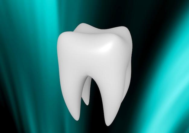 Menschlicher weißer zahn lokalisiert auf abstraktem hintergrund