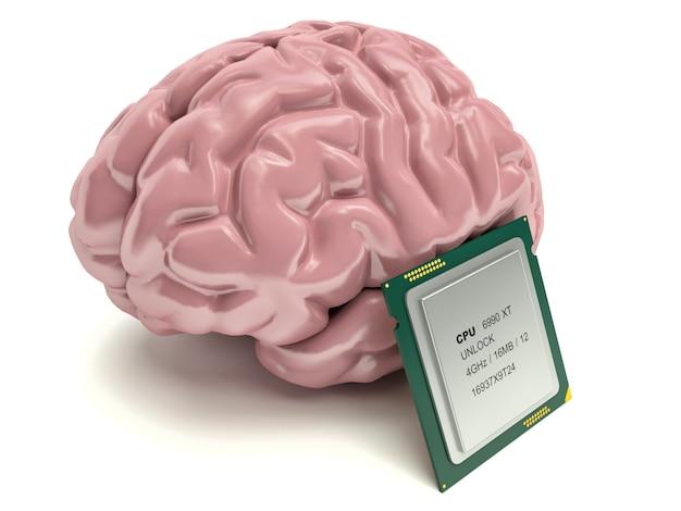 Menschliches gehirn und computerchip, 3d-konzept