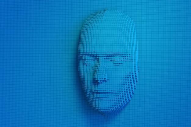 Menschliches gesicht aus blauen würfeln. konzept der künstlichen intelligenz.