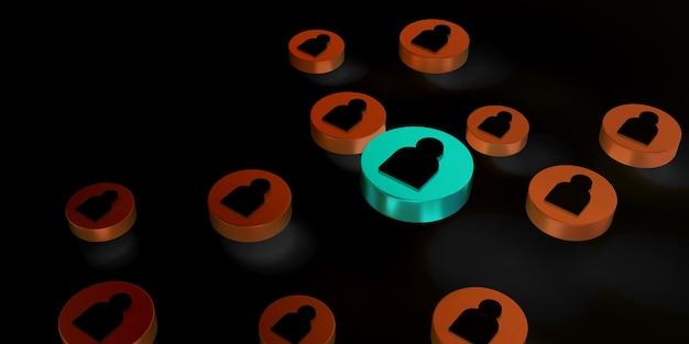 Menschliches symbol, das unter anderen menschen grün leuchtet. führungs- und geschäftserfolgskonzept, 3d-rendering