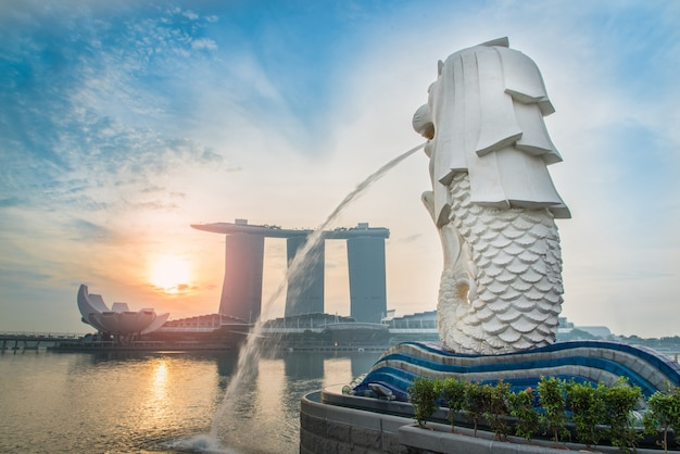 Merlion am sonnenuntergang