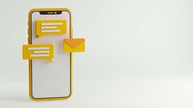 Messaging conversation app-konzept. social media hintergrund copy space 3d-rendering