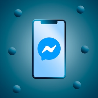 Messenger-logo auf dem 3d-rendering des telefonbildschirms