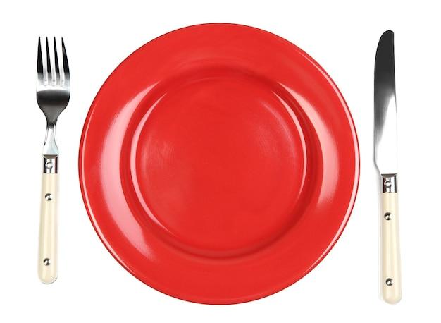 Messer, farbplatte und gabel, isoliert auf weiß