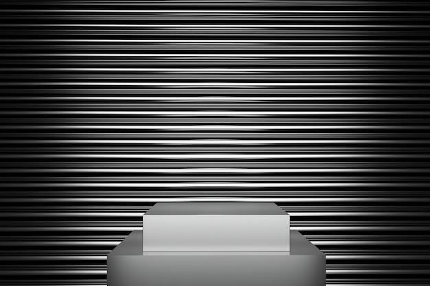 Meta-farbbühnen-mock-up-linienform stapelhintergrund für kopienraum. 3d-rendering. minimales ideenkonzeptdesign.