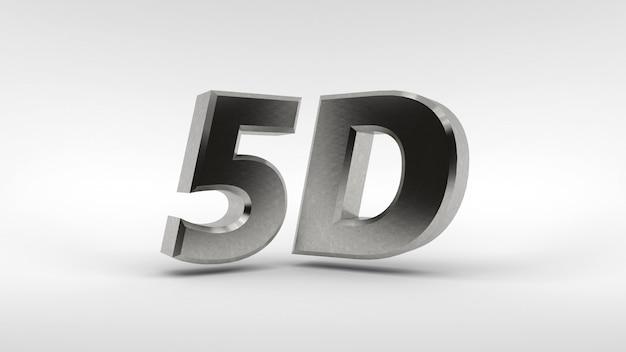 Metal das logo 5d, das auf weißer oberfläche mit reflexionseffekt lokalisiert wird