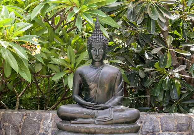 Metall-buddha-statue-lotoshaltung im garten.