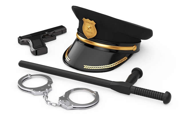 Metall-handschellen, schwarzer gummi-polizei-stab oder nightstick, leistungsstarke metall-polizei-pistole und polizist-hut mit goldenem abzeichen auf weißem hintergrund. 3d-rendering