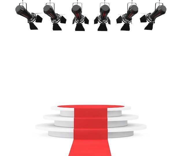 Metall moderne bühnenscheinwerfer konstruktion mit rotem teppich zum podium auf weißem hintergrund. 3d-rendering