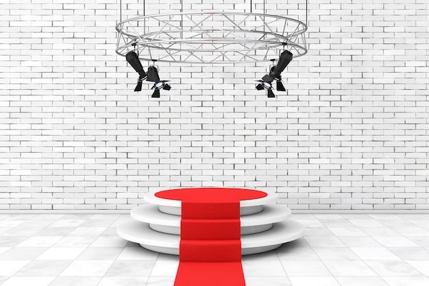 Metall moderne bühnenscheinwerferkonstruktion mit rotem teppich zum podium vor backsteinmauer. 3d-rendering