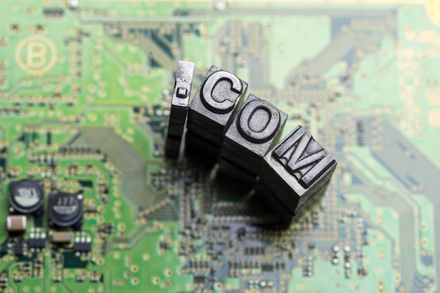 Metall wort buchdruck dotcom