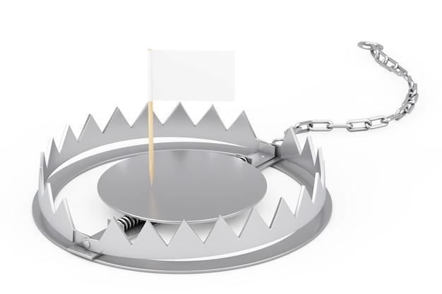 Metallbärenfalle mit mini paper pointer flag mit freiem platz für ihr design auf weißem hintergrund. 3d-rendering