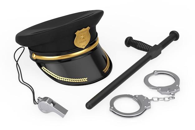 Metallhandschellen, black rubber police baton oder nightstick, police whistle und police officer hat mit goldenem abzeichen auf weißem hintergrund. 3d-rendering