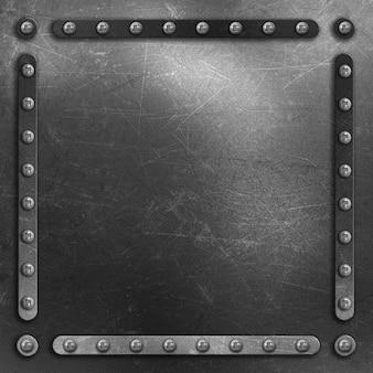 Metallic hintergrund mit kratzern und flecken und nieten