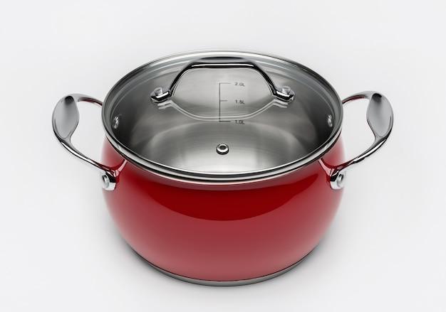 Metallic rote kochpfanne mit glasdeckel.