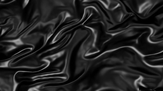 Metallic schwarz gefalteter seidenstoff