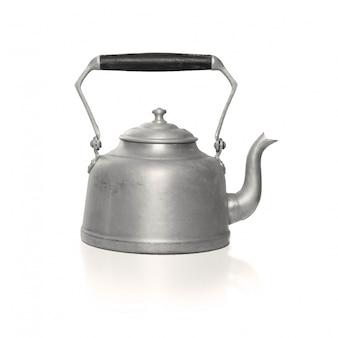 Metallic teekanne mit schwarzem griff