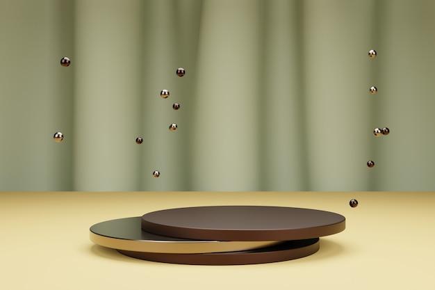 Metallische blasen und runde 3d-podien zur produktpräsentation mit textilvorhang auf hintergrund
