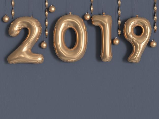 Metallische graue wiedergabe der wand 3d des ballons 2019 / zahlgoldmetallische
