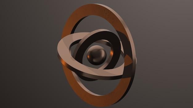 Metallische ringe und kugel
