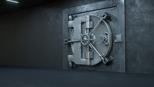 Metallische tresortür in der bank