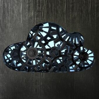 Metallische wolke 3d mit zahnradkasten