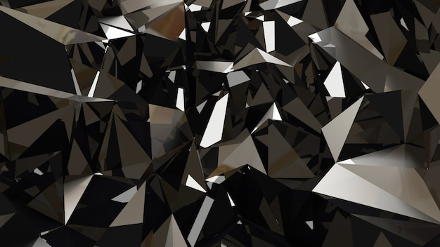 Metallischer schwarzer hintergrund mit dreiecken und kristallen. 3d-rendering.