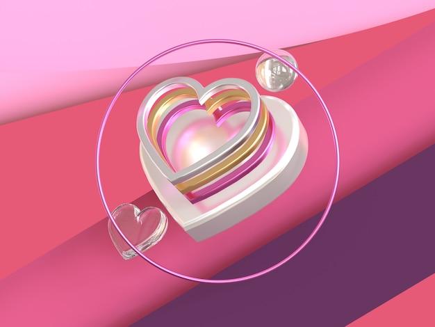 Metallisches glänzendes 3d des rosa purpurroten szenenherzsymbols übertragen valentinsgrußkonzept
