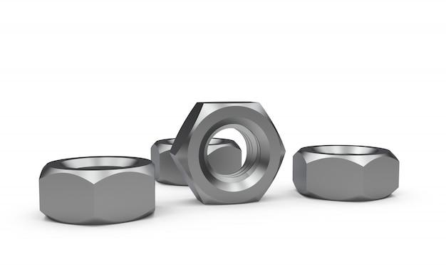 Metallmuttern getrennt auf weiß